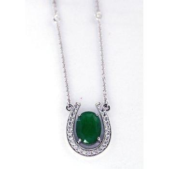 Emerald, Diamond and White Gold Horseshoe Necklace