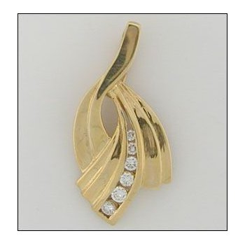 14K Gold Slide Pendant With 00.21 Twt Diamond