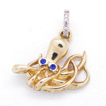 Diamond, Sapphire and Yellow Gold Octopus Pendant
