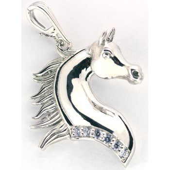 Sterling Silver Horse Head Pendant with CZ