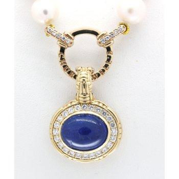 Tanzanite, diamond and yellow gold pendant