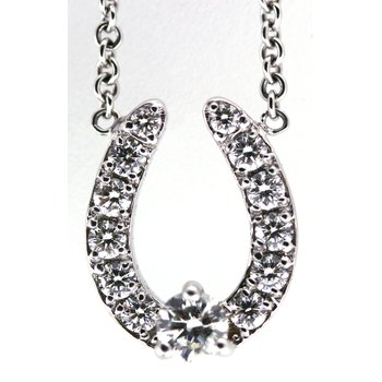 14Kt White Gold Horse Shoe Necklace