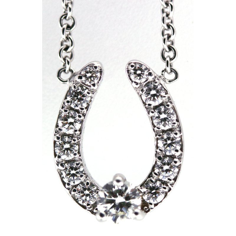 Equestrian Jewelry 14Kt White Gold Horse Shoe Necklace