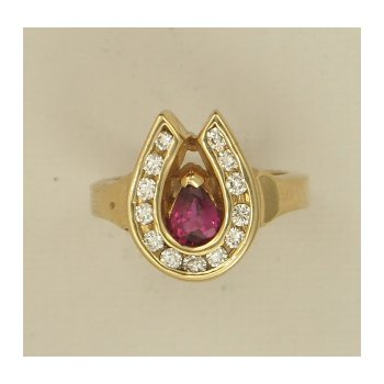 Ruby And Diamond Horseshoe Ring
