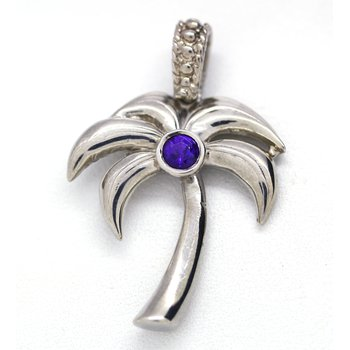 Sterling Silver and Amethyst Palm Tree Pendant
