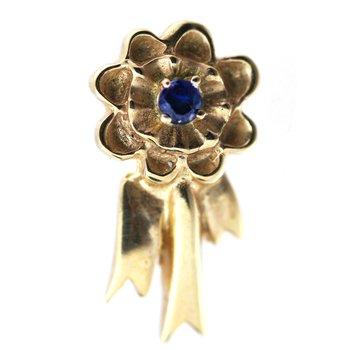 Sapphire and Yellow Gold Blue Ribbon Pin