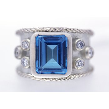 Sterling silver,Blue Topaz and CZ, Wide Band Ring