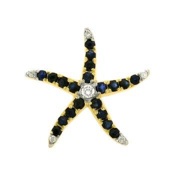 Diamond And Sapphire Starfish Pendant