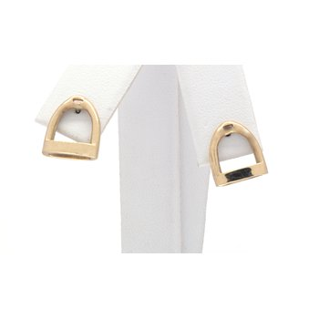 yellow gold horse stirrup earrings