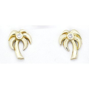 Diamond and Yellow Gold Palm Tree earrings