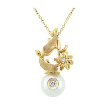Diamond And Pearl Porpoise Pendant