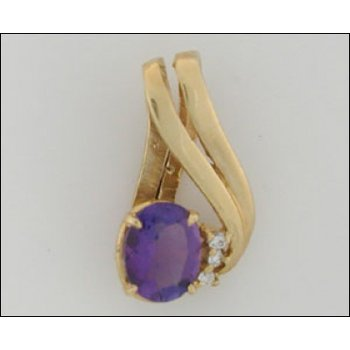 14K Gold Slide Pendant With Amethyst And Diamond