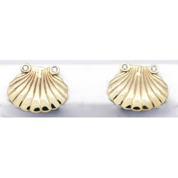 Diamond and Yellow Gold Shell Earrings