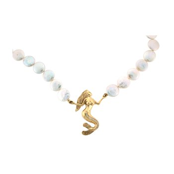Pearl Necklace With Mermaid Pendant