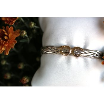 Two tone, silver and gold, horseshoe cuff bracelet