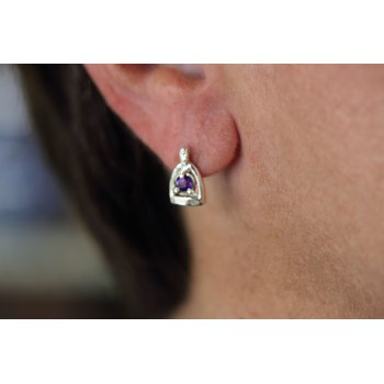 Sterling Silver Stirrup Earrings with Amethyst