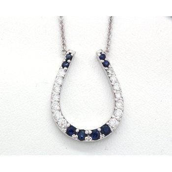 Sapphire and diamond, white gold, horseshoe necklace