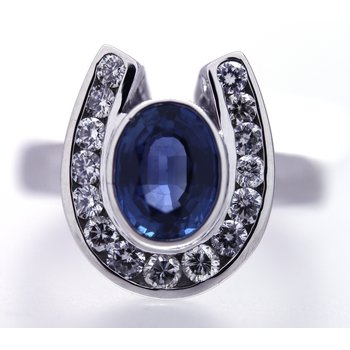 Sapphire, Diamond and White Gold Horseshoe Ring