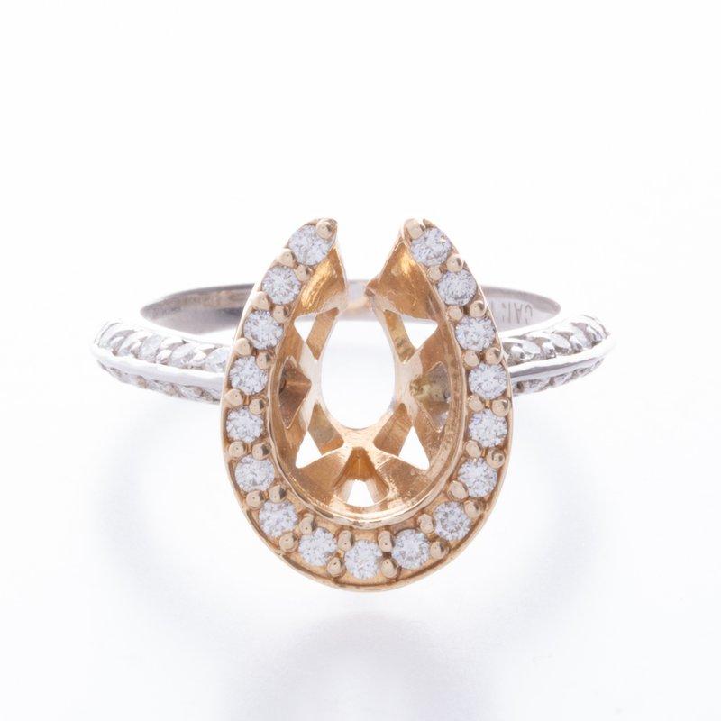 Equestrian Jewelry 14 kt Horsehoe Ring w Diamonds