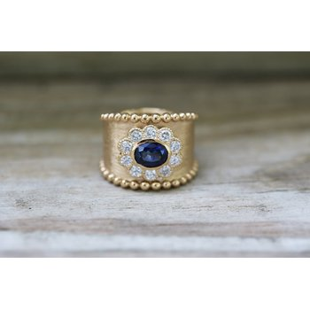 Sapphire and diamond wide band, ring