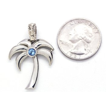 Sterling Silver and Blue Topaz Palm Tree Pendant