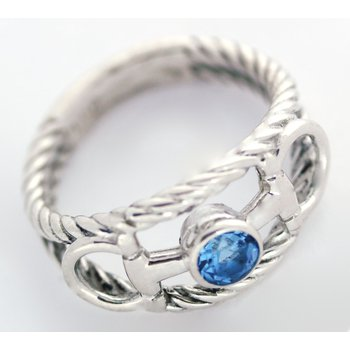 Sterling Silver Horse Bit Ring with Blue Topaz Center