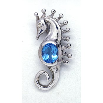Blue Topaz and Sterling Silver Seahorse Pendant