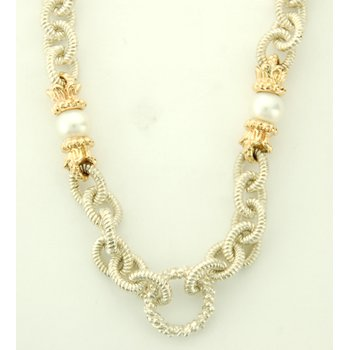 17' Sterling Silver Necklace With Gold And Pearl Accents