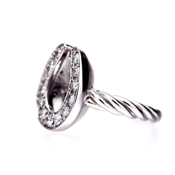 Diamond Horseshoe, white gold ring,  with a twist shank