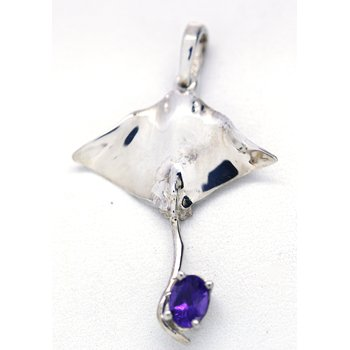 Sterling Silver and Amethyst Sting Ray Pendant