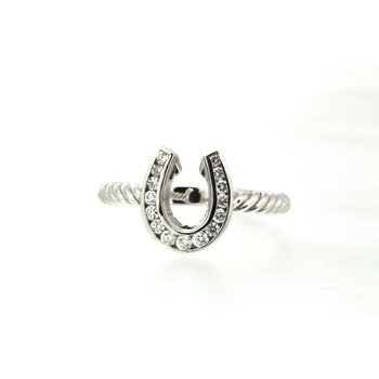 White gold and diamond horseshoe ring with a twisted band