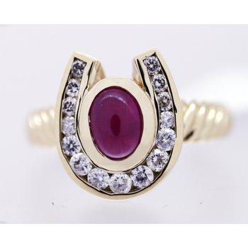 Ruby, Diamond and Yellow Gold Horseshoe Ring