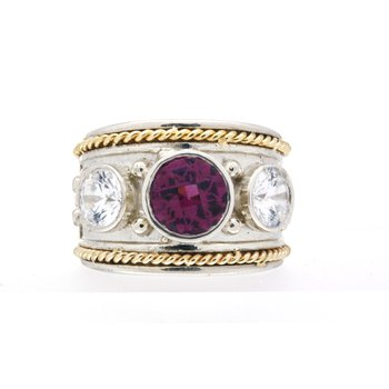 Two tone, Garnet and CZ Wide Band Ring