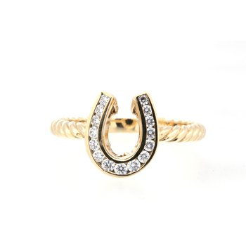 yellow gold and diamond horseshoe ring, with twisted band