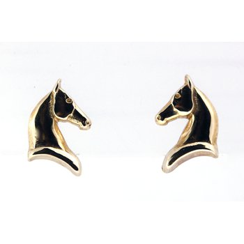 Yellow Gold Horse Head Earrings