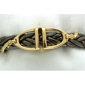 Sterling silver, black rhodium, and yellow gold horse stirrup cuff bracelet