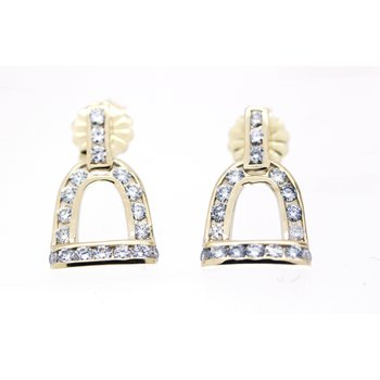 Yellow Gold and Diamond Horse Stirrup Earrings