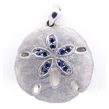 Sapphire and Sterling Silver Sand Dollar Pendant