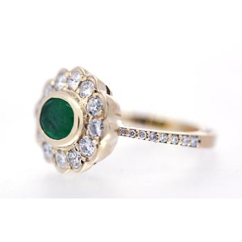 Emerald, Diamond and Yellow Gold Ring