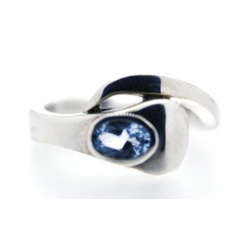 Sterling Silver and Blue Topaz, Horse Nail Ring