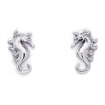 White Gold Seahorse Earrings