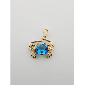 14K Crab Pendant with Blue Topaz