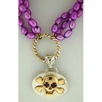 Skull And Crossed Bones Pendant On Purlple Dyed Freshwater Pearls