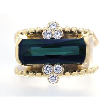 Tourmaline and Diamond Yellow Gold Wide Band Ring