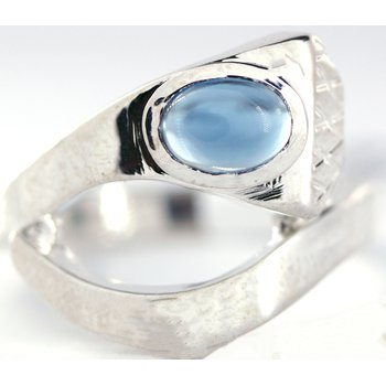Sterling Silver Horse Shoe Nail Ring with Blue Topaz