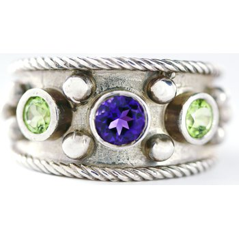 Sterling Silver Ring with Amethyst and Peridot
