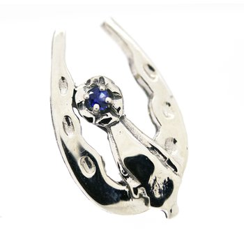 Sapphire and white gold, blue ribbon and horseshoe tie tac pin