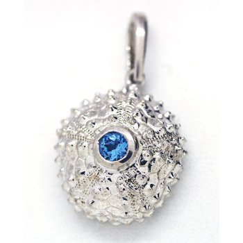 Blue Topaz and Sterling Silver Sea Urchin Pendant