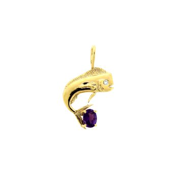 Dolphin Pendant With Amethyst