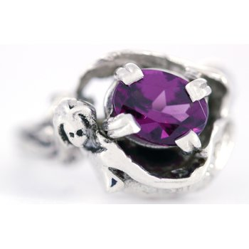 Sterling Silver Mermaid Ring with Rhod. Garnet